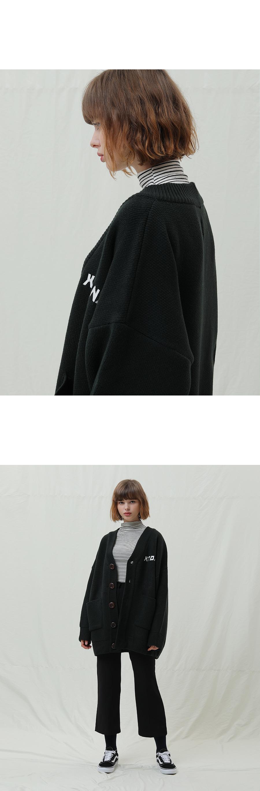 엑스톤즈 (XTONZ) XK1 오버핏 베이직 가디건 (GREEN)