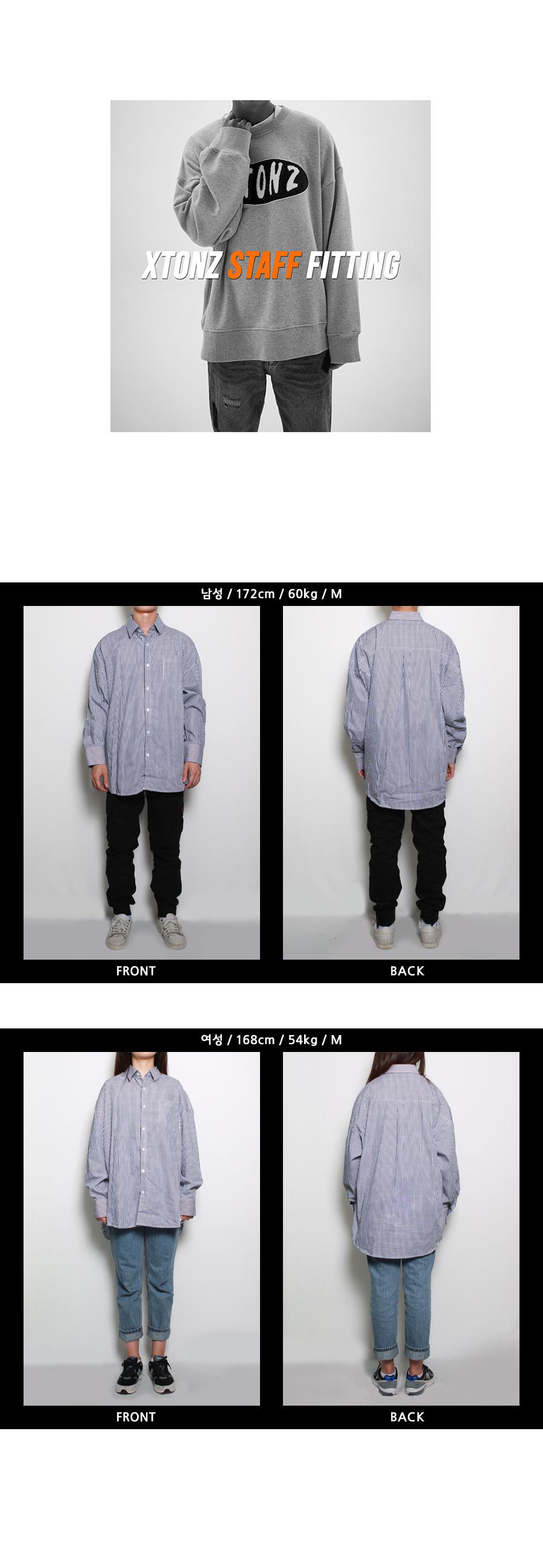 엑스톤즈 (XTONZ) XT7 오버핏 커프스 셔츠(STRIPE)