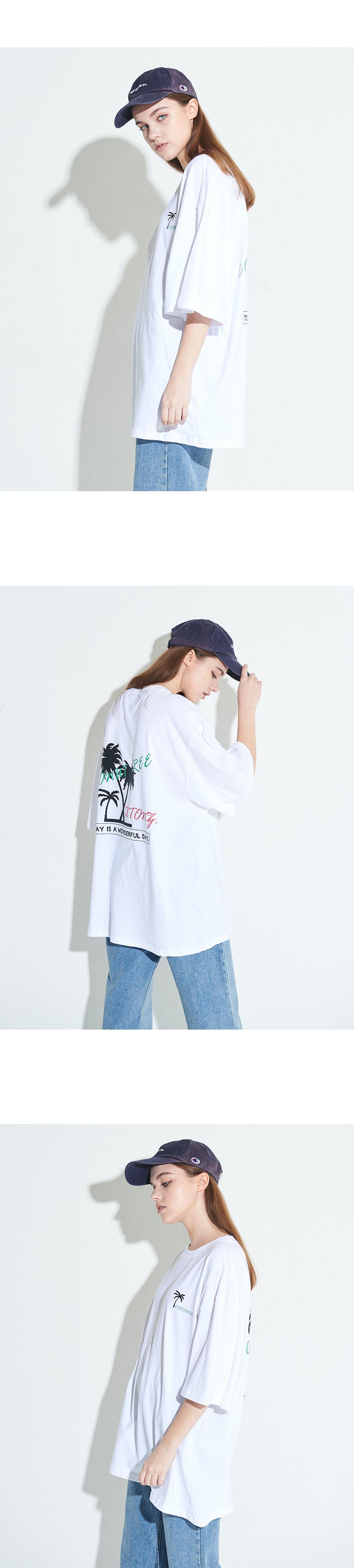 엑스톤즈 XT18 코코넛 트리 오버핏 반팔 티셔츠 (WHITE)