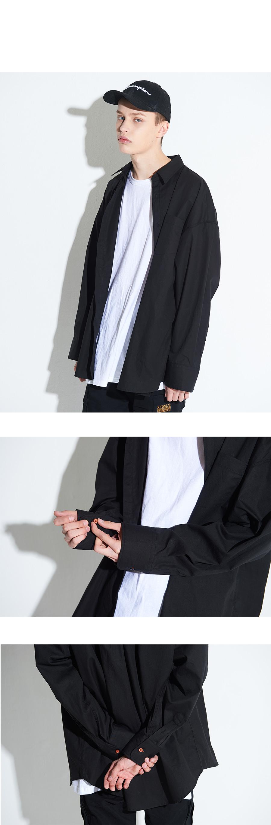 엑스톤즈 XTS003 아모르 오버핏 셔츠 (BLACK)