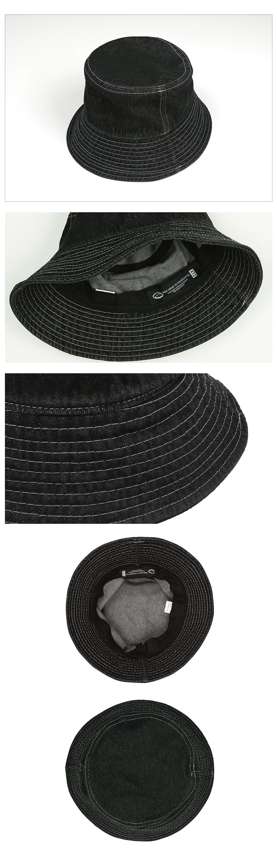 XTC008 화이트 스티치 데님 버킷햇 (BLACK)