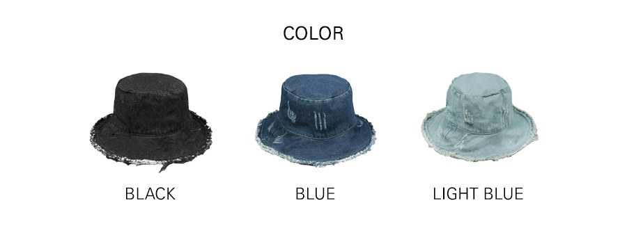 XTC018 빈티지 데님 와이어 버킷햇 (BLUE)