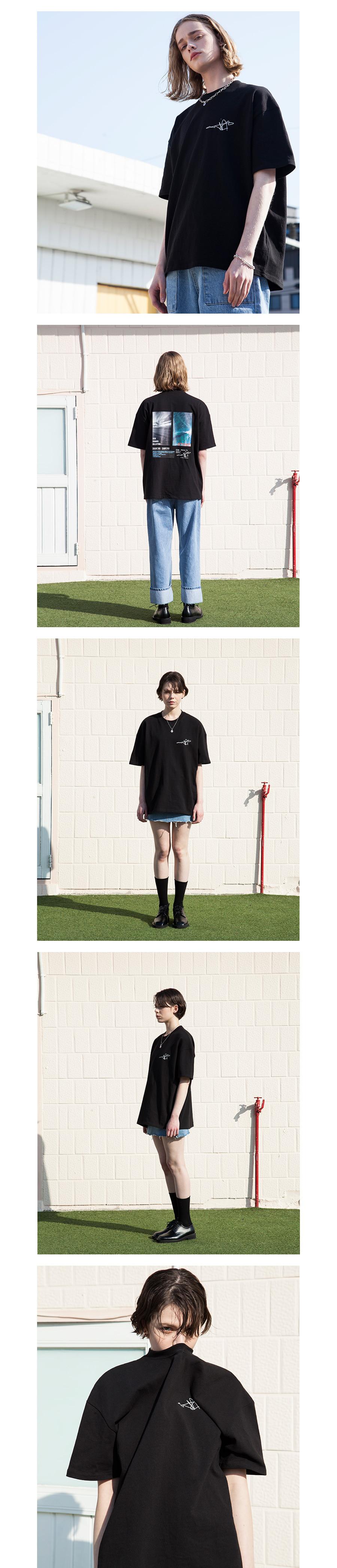 XTT020 레트로 썸머 반팔 티셔츠 (BLACK)